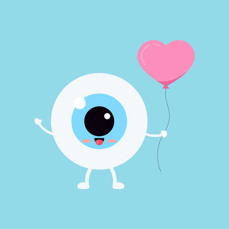 Cute eye with heart balloon vector ophthalmology love icon. 向量圖像