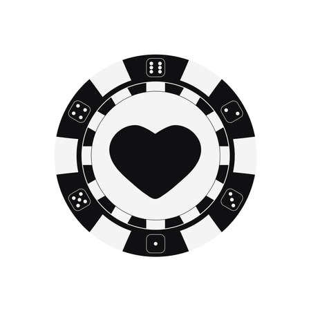 Poker game chip with hearts card suits.