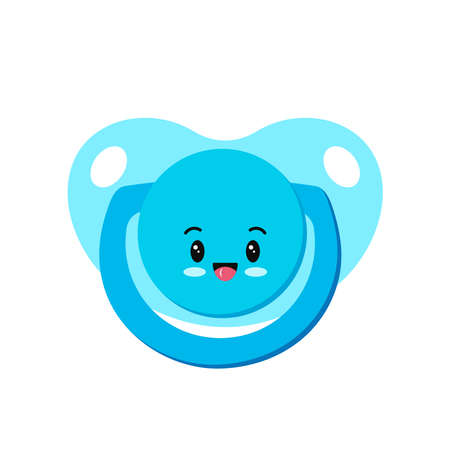 Pacifier baby dummy character with smile icon