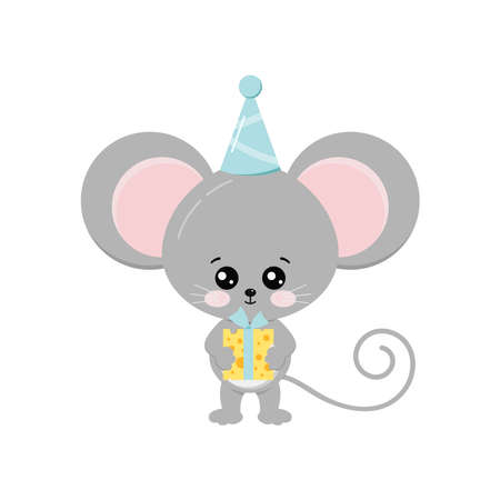 Cute mouse with cheese gift in birthday cap.