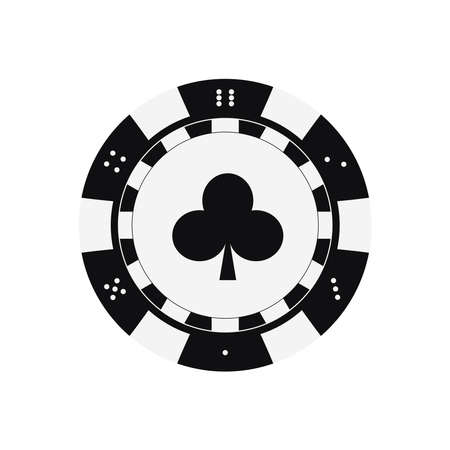 Poker game chip with clubs card suits.