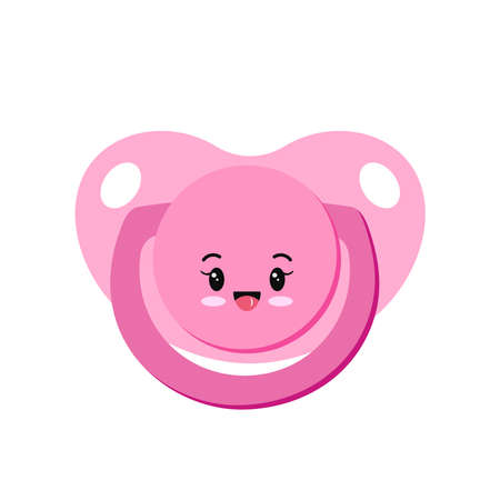 Pacifier baby dummy girl character vector icon