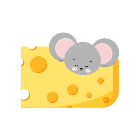 Cute mouse head looking out of hole in cheese