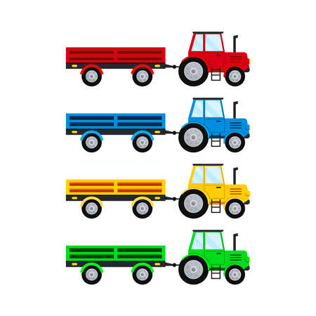 Farm tractor and open trailer set isolated on white background.