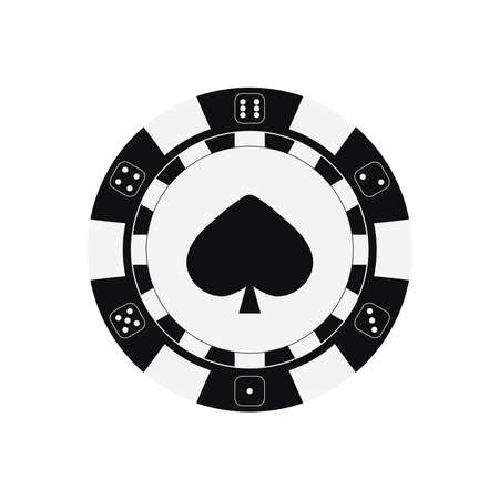 Poker game chip with spades card suit.
