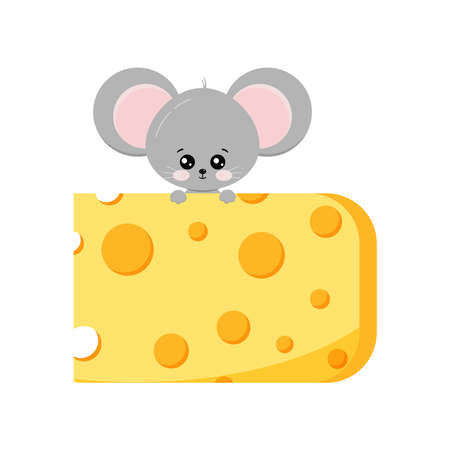 Cute mouse climb up on piece of cheese vector flat design isolated on white background. 向量圖像
