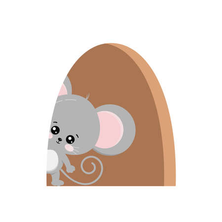 Cute mouse inside of hole in home isolated. 向量圖像