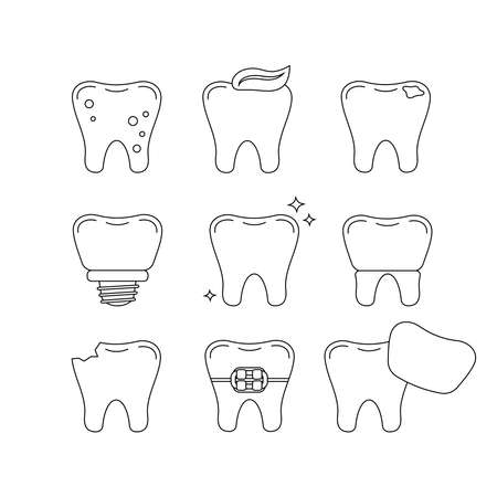 Tooth dental line icon set isolated on white.