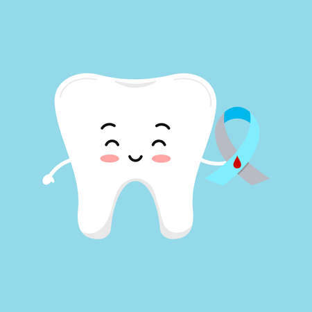 Cute tooth with diabetic awareness ribbon illustration.