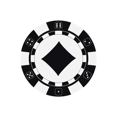 Poker game chip with diamonds card suit.
