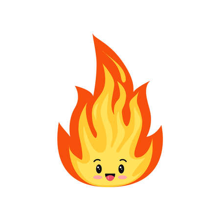 Fire flame emoji cute character isolated on a white background.
