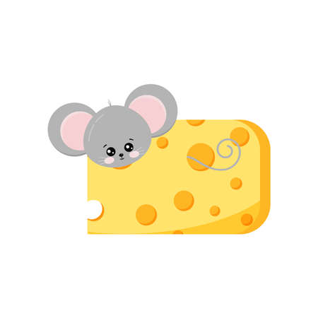 Cute mouse looking out of hole in cheese vector 向量圖像