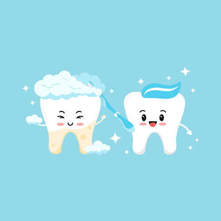 Tooth with yellow plaque becomes white with help of cute tooth boy with toothbrush.