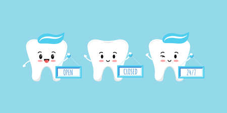 Cute teeth holds plate with open closed 24 7 text isolated on blue background. . 向量圖像