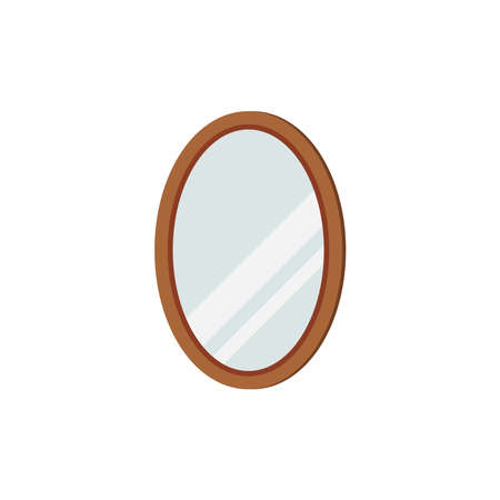 Mirror with oval frame isolated on white background.