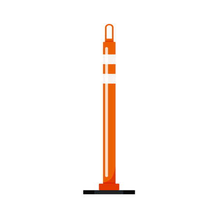 Orange cylinder delineator post barrier isolated on white background. 向量圖像