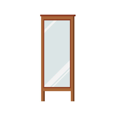 Mirror with wooden frame stand on floor isolated on white background.