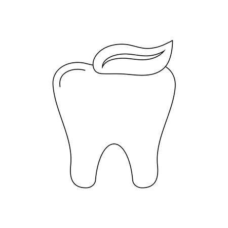 Tooth with toothpaste dental icon isolated on white background.
