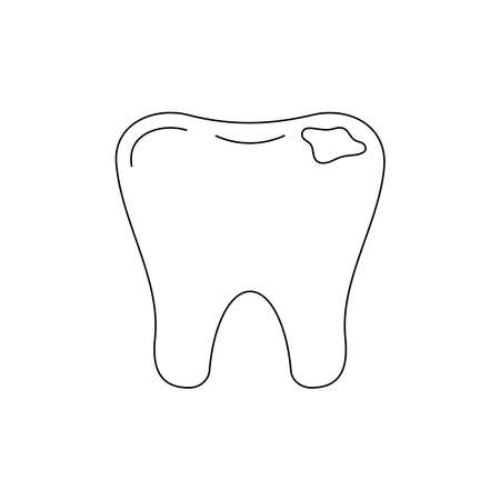 Tooth decay dental line art icon isolated.
