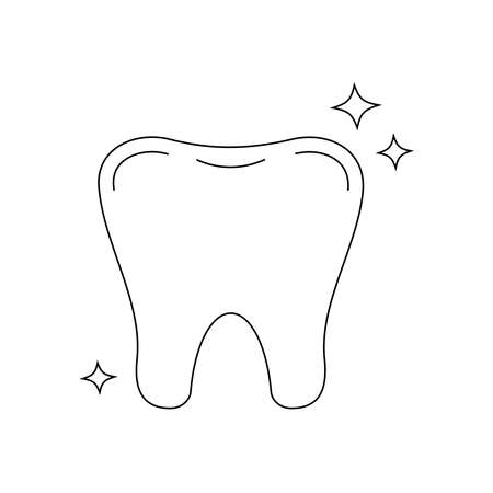 Tooth strong dental line art icon isolated on white background.