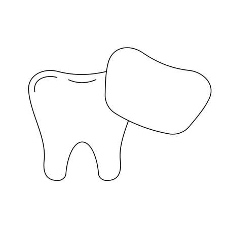 Tooth with venner dental line icon isolated on white background.