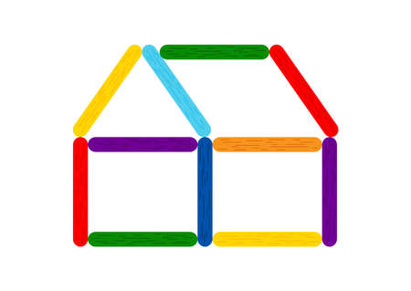 Rainbow color ice cream stick house for kids game.
