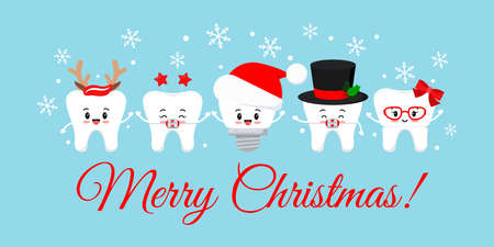 Cute Christmas teeth with xmas accessories on dentist greeting card. 向量圖像