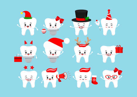 Chistmas smilling teeth dental icon set isolated.