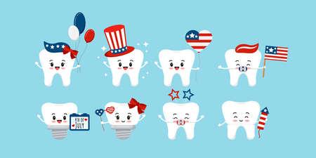 4 th of July teeth dental icon set isolated. 向量圖像