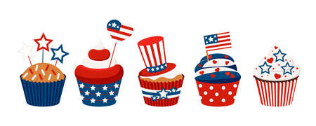 4th of July cupcakes set sweets food.