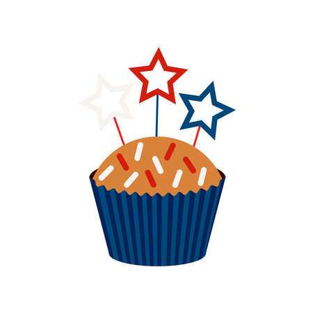 4th of July cupcake sweets food with stars on stick.