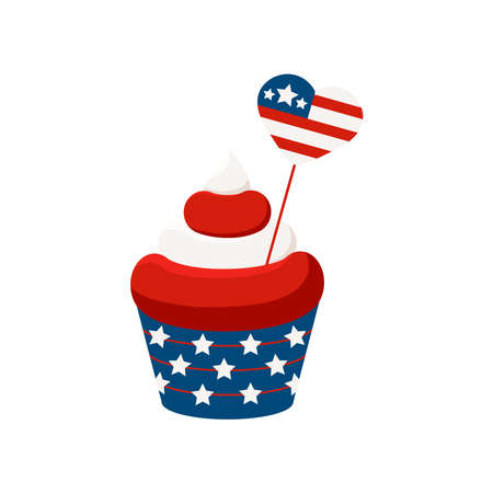 4th of July cupcake sweets food with heart shape flag.