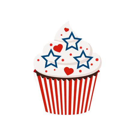 4th of July cupcake sweets food illustration. 向量圖像