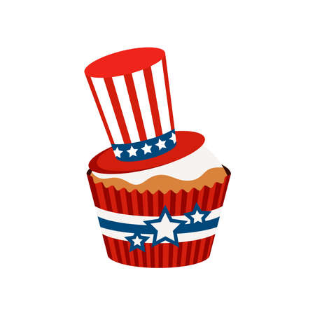 4th of July cupcake patriotic sweets food with hat.