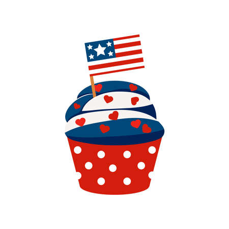 4th of July cupcake sweets food with american flag.