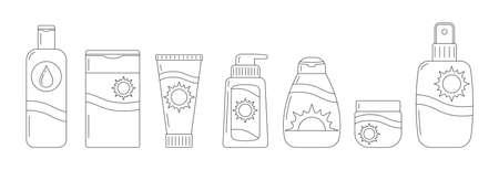 Sunscreen bottles vector line art icon set isolated on white background. 向量圖像