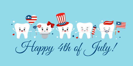 Cute 4th July teeth with accessories on dentist greeting card. 向量圖像