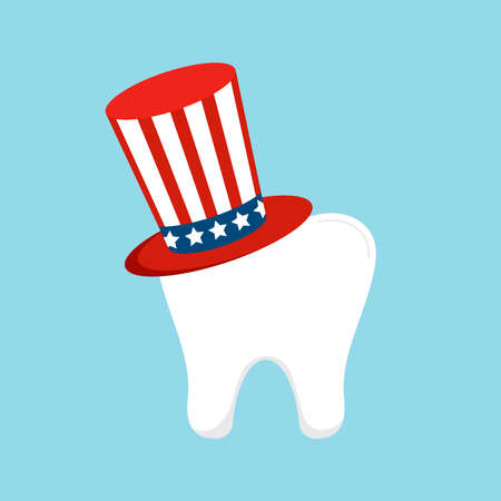 4th of July tooth in Uncle Sam hat icon isolated on background. 向量圖像