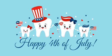 American independence day teeth happy family greeting card