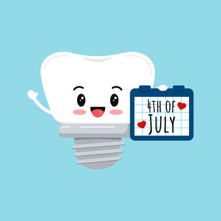 4 th of July tooth dental implant isolated on background