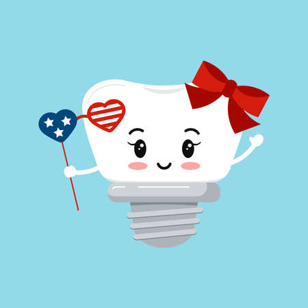4 th of July tooth dental implant clip art illustration.