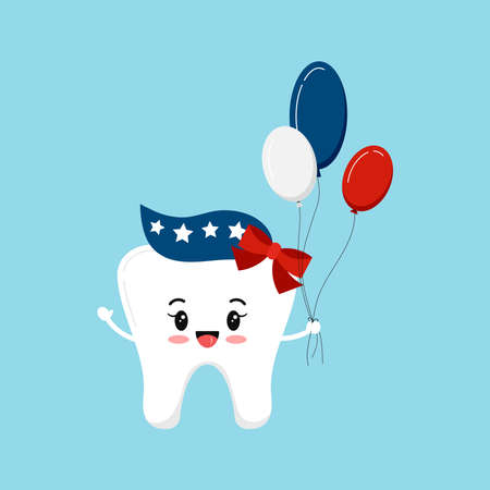 4 th of July tooth girl dental icon isolated.