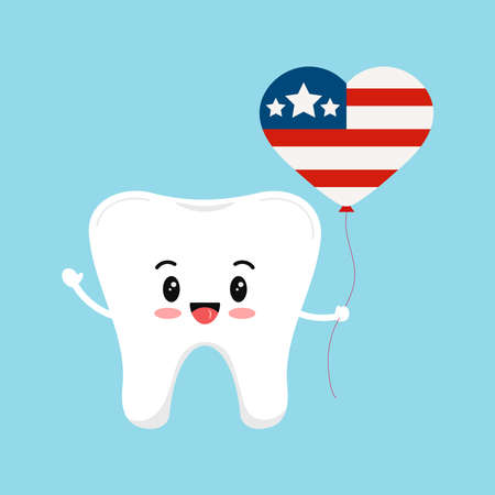 4 th of July tooth dental icon isolated.