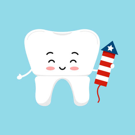 4 th of July tooth crown dental icon isolated. 向量圖像