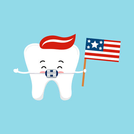 4 th of July tooth in braces dental icon isolated.