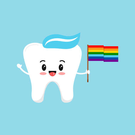 Tooth with rainbow pride flag dental icon isolated on background.