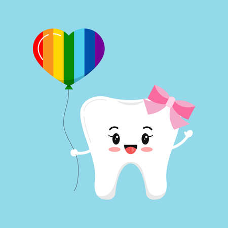 Tooth with heart shape balloon rainbow pride colors dental icon isolated on background. 向量圖像