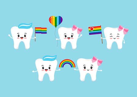 Teeth with rainbow flag and balloon in hands. 向量圖像