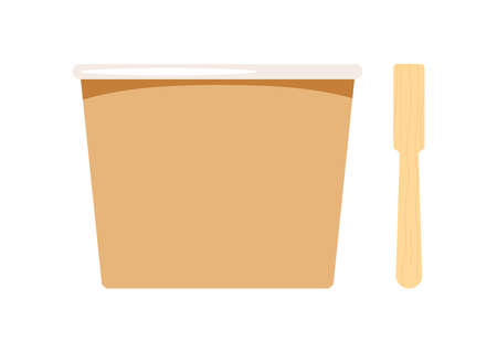 Paper cup container blank for ice cream with wood stick isolated on white background. 向量圖像
