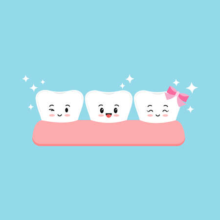 Cute tooth in gum dentistry emoji vector sign isolated on blue background. 向量圖像